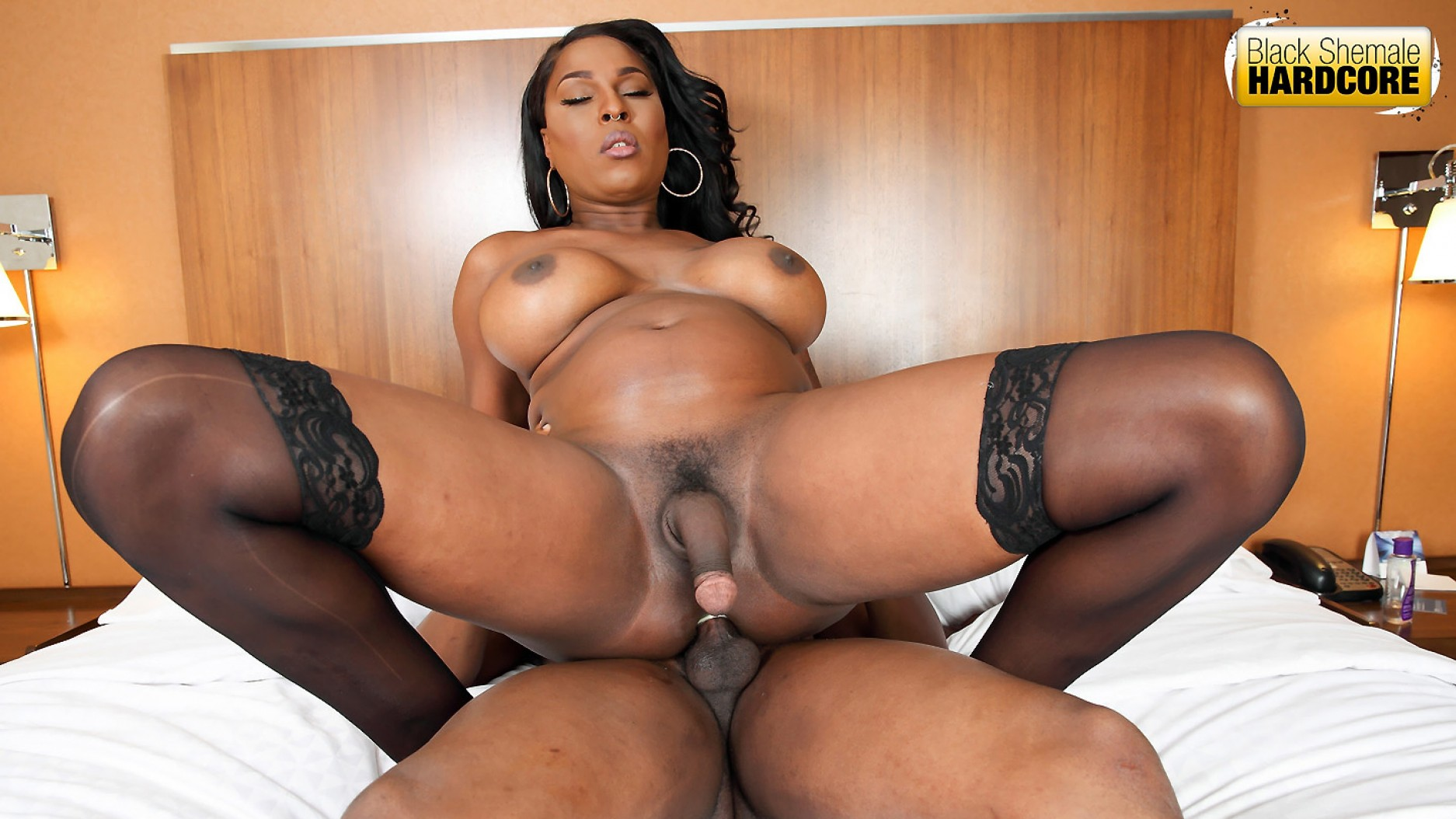 Beautiful Ebony Shemale Fucked